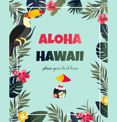 tropical hawaiian poster with toucan vector image vector image
