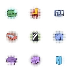 Type of furniture icons set pop-art style vector image vector image