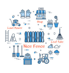 06 blue gardening - nice fence vector image