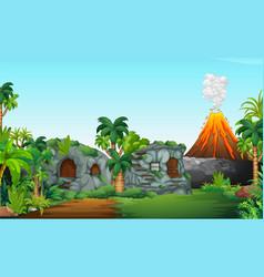 A nature prehistoric scene vector