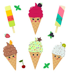 A set of different ice cream smiles vector