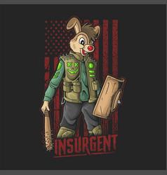 American insurgent with rabbit head v vector