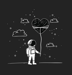 Astronaut draw with heart design vector