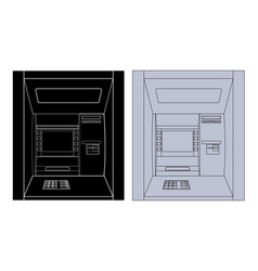 atm black and white outline drawing vector image