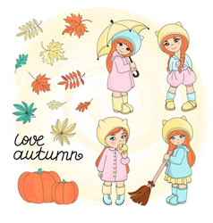 autumn girls set vector image