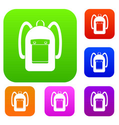 Backpack set color collection vector