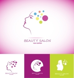 Beauty salon logo woman face profile vector