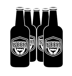 Black brown bottles of beer icon image vector