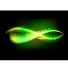 Blurry abstract green lined light effect vector