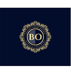 Bo initial letter gold calligraphic feminine vector