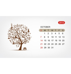 calendar 2012 october Art tree design vector image