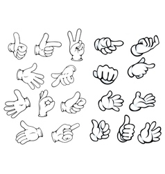 Cartoon hand gestures and pointers vector