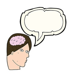 cartoon head with brain symbol with speech bubble vector image