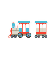 Childrens toy train cartoon railroad toy with vector