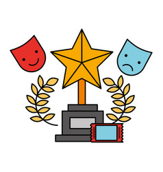 Cinema movie trophy award ticket cinema vector