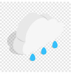 Cloud with rain drops isometric icon vector