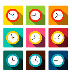 Colorful flat clock icons set vector
