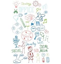 Colorful web doodles set vector