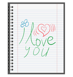 confession in love calligraphy on sheet paper vector image