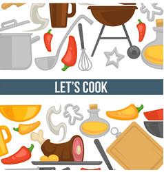 Cooking kitchen utensils and ingredients poster vector