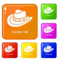 Cowboy hat icons set color vector