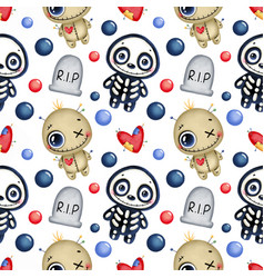 Cute cartoon magic halloween seamless pattern vector