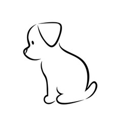 Cute puppy silhouette on white vector