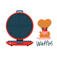 Cute round waffle iron cartoon motif set hand vector