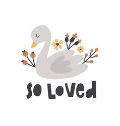 Cute swan and flowers vector