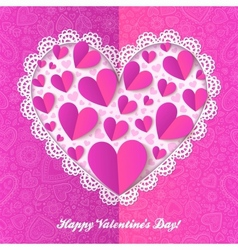 Cutout lacy paper heart on pink ornate background vector