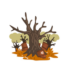 Dead trees and rusty barrels of nuclear waste vector