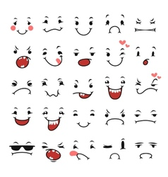 Doodle facial expressions set for humor design vector
