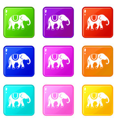 elephant icons 9 set vector image