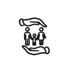 Family and hands sketch icon vector