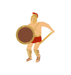 fighting strong gladiator in red loincloth vector image