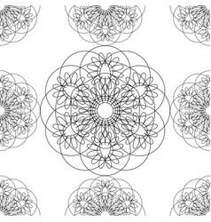 flower mandala linear graphics seamless pattern vector image