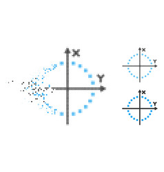 Fragmented pixel halftone circle plot icon vector
