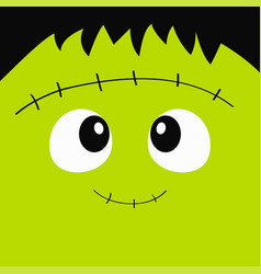 Frankenstein zombie monster square face icon vector