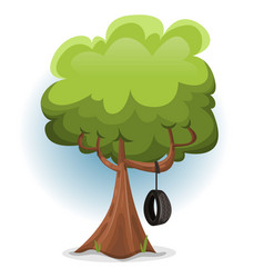Funny spring tree with swing tire vector