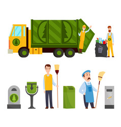 garbage collection garbage truck garbage man in vector image