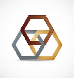 geometrical abstract metal hexagon icon logo vector image