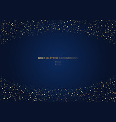 Gold glitter circles festive on dark blue vector