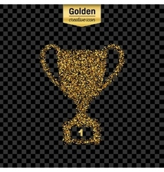 Gold glitter icon of trophy cup isolated on vector image
