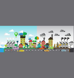 Green and polluted city vector