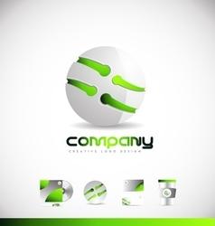 Green sphere 3d logo icon design vector