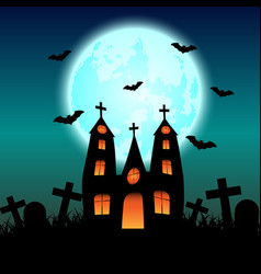 Halloween background with haunted house and full vector