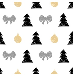 hand drawn Christmas tree gift ball seamless vector image