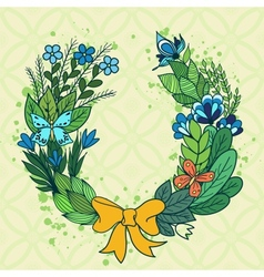 Handdrawn floral wreath with blue flowers vector