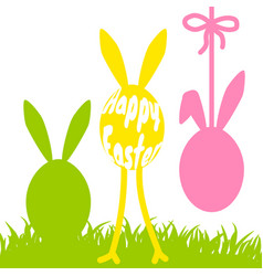 Happy easter funny eggs card vector