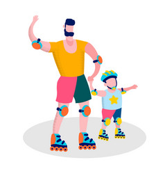 happy fathers day family sport recreation banner vector image